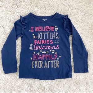 Carters Blue Kittens Unicorns Long Sleeve Tee